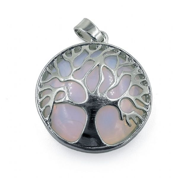 Rhodium Plated Opalite Tree of Life Pendant 27mm x 31mm